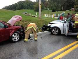One person was injured in a two-car crash in Manchester Township, York County, on Tuesday morning.