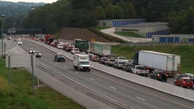 Traffic piles up in the southbound lanes of I-83 in York County.