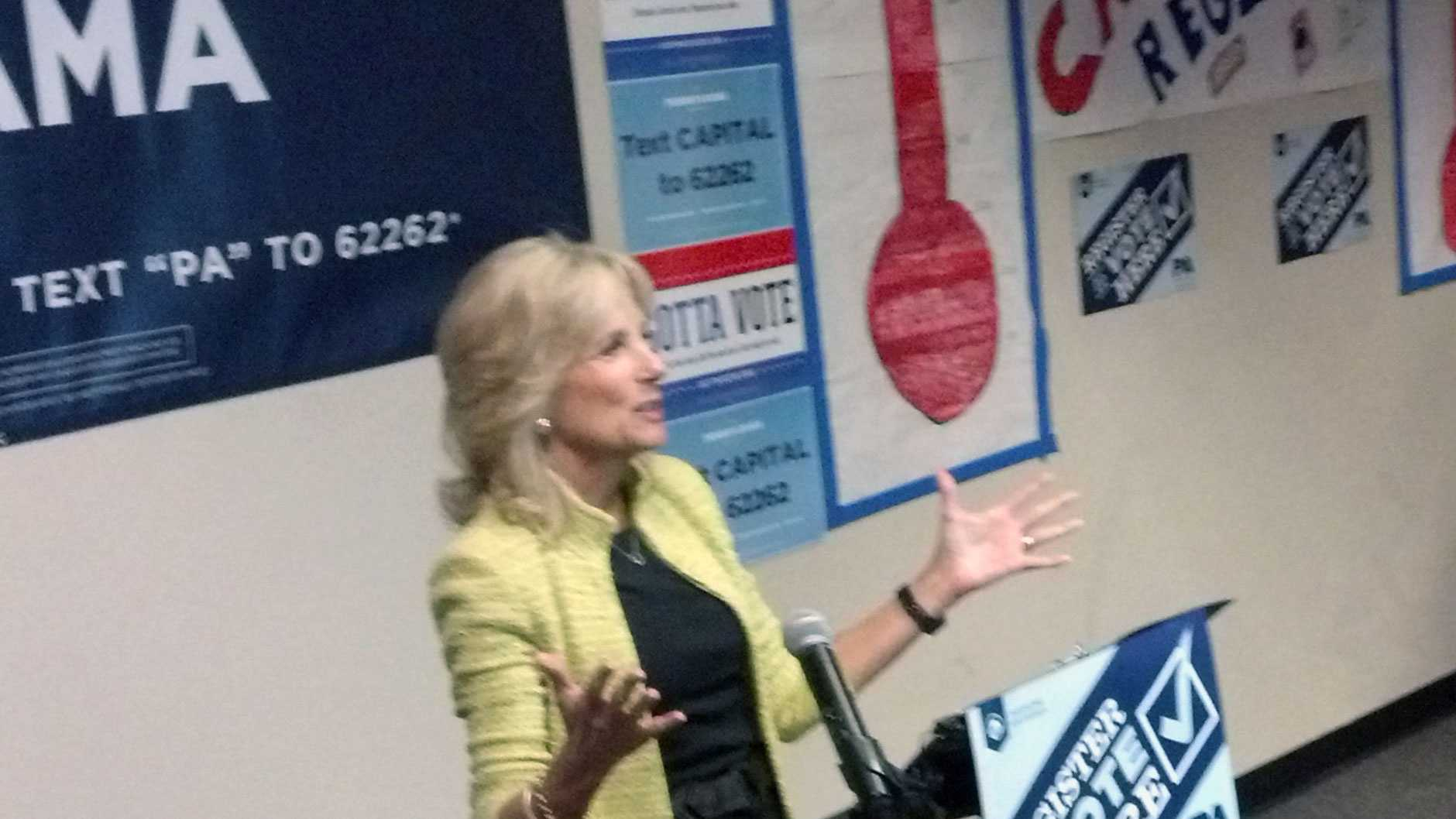 Jill Biden speaks in Harrisburg on Monday.
