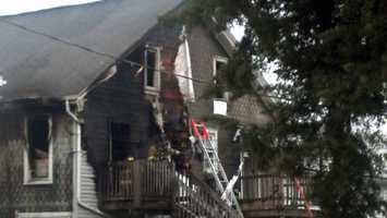 A fire in Palmyra, Lebanon County, Thursday afternoon damaged two buildings.
