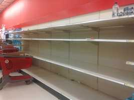 Sunday, Oct. 28: Storm supplies are sold out at the Target in East York.