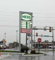 Monday: At this Hess Station along Route 72 in Manheim workers removed the gas prices so the numbers wouldn't blow away.