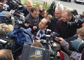 The media surrounds the attorney for former Penn State administrator Gary Schultz at Friday's hearing.