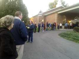 Voters wait outside a polling place in Springettsbury Township, York County.