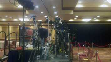 Media cameras are setup at U.S. Sen. Bob Casey's headquarters at the Hilton in Scranton.
