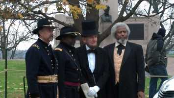 Abraham Lincoln reenactor James Gettysburg read the address as part of the ceremony.