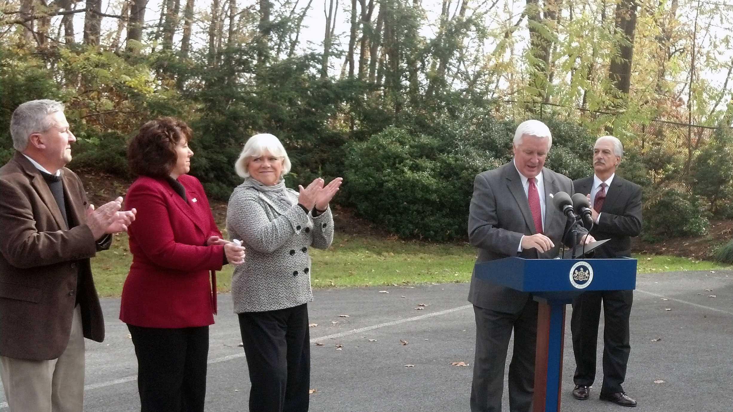 Gov. Tom Corbett announces funding for dozens of park projects Tuesday at Coleman Memorial Park in Lebanon.