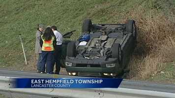A car on its roof tied up traffic along Route 30 in Lancaster County Thursday morning.