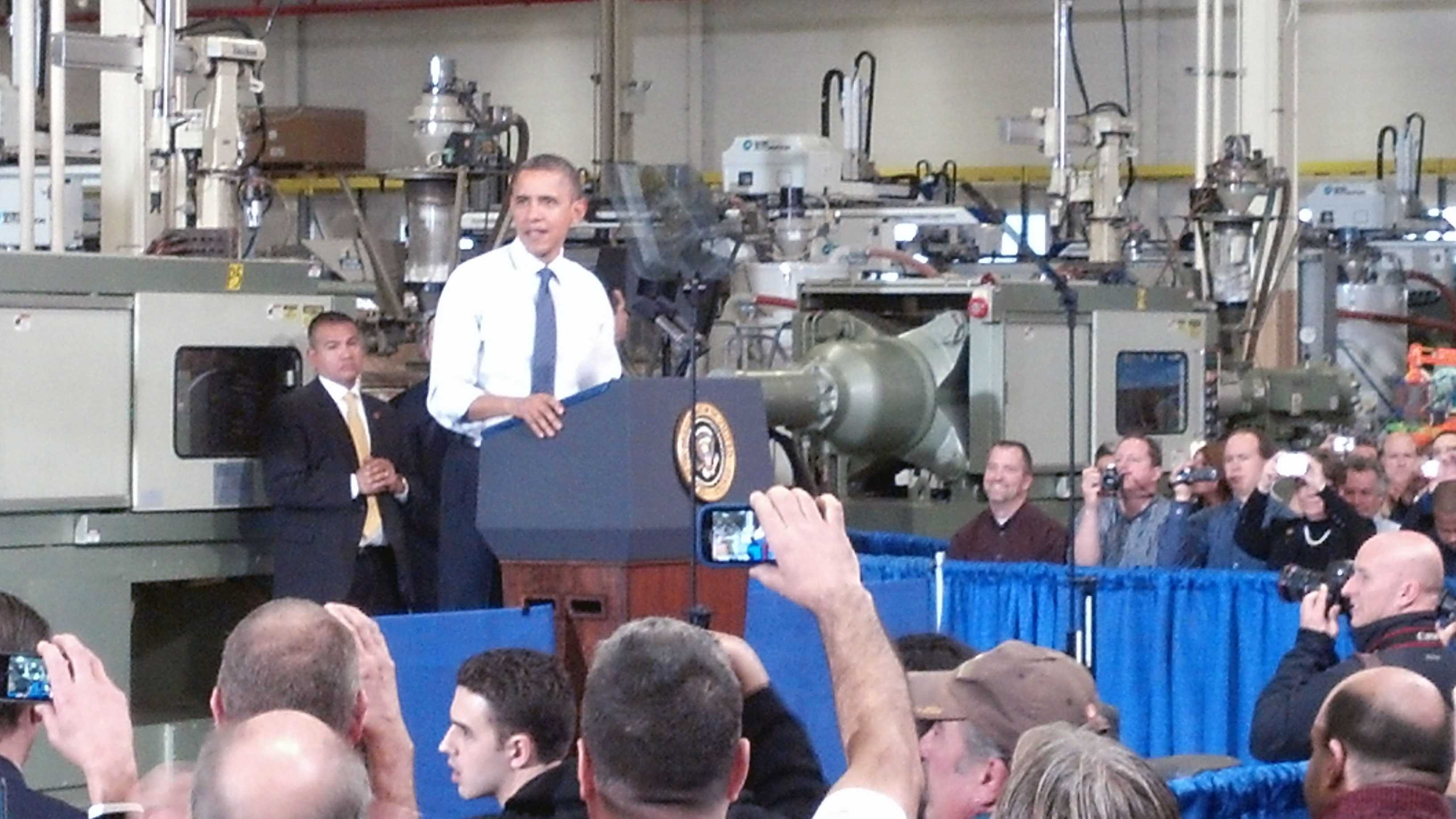 President Barack Obama speaks at a factory in Montgomery County.