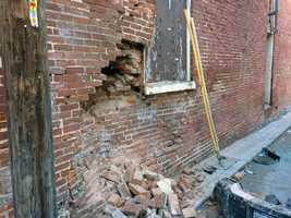 A vehicle struck the back of Penn's Market in York early Tuesday.