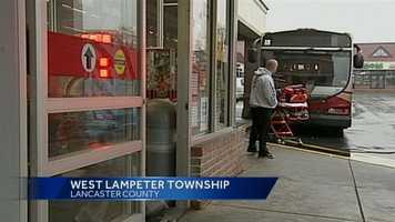 A Red Rose transit bus crashed into a Lancaster County store Monday morning.