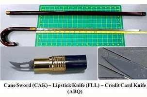 "Here is another sword cane (Akron), a lipstick knife (Fort Lauderdale) and a ""credit card knife"" (Albuquerque). All of them were found in early Nov. 2012."