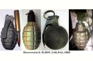 The week of Dec. 7, 2012, four inert grenades were discovered in carry-on bags at Chicago O'Hare, Dallas, Houston, and Juneau.