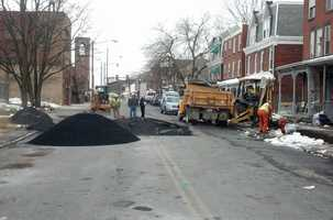 Crews are working to repair the damage along North 4th Street.