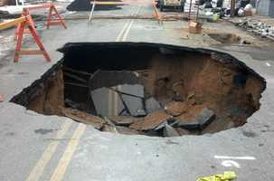 A second sinkhole opened in a Harrisburg street late Monday night.