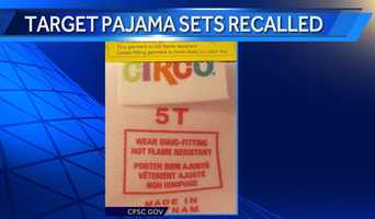 """This recall involves Target Circo and Xhilaration children's cotton or cotton/fleece two-piece pajama sets. They were sold in infant and toddler sizes 12M, 2T, 3T, 4T and 5T, and in girls and boys sizes XS, S, M, L and XL. There are a variety of colors and designs, including stars, dots, skulls, peace signs, cats, owls, footballs and camouflage. To see a complete list of item numbers included in this recall,visit the firm's website. The item number is located on a tag on the shirt's side seam and on the pants at the waist. A tag printed on the neck of the pajamas states """"Circo"""" or """"Xhilaration"""", """"Wear snug-fitting not flame resistant"""" and the item number. The pajamas were also sold with a yellow hangtag that states, """"For child's safety, garment should fit snugly. This garment is not flame resistant. Loose-fitting garment is more likely to catch fire."""""""