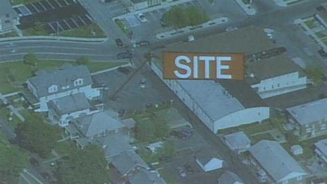 In this aerial view, the location of the proposed restaurant is indicated.