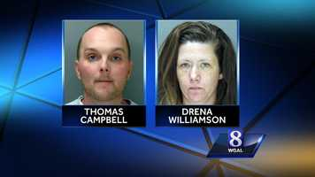 Thomas Campbell, 33, and Drena Williamson, 32, both of Elkton, Md., stand accused of multiple burglaries in Pennsylvania and Maryland.