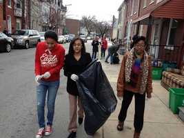 Students picked up trash Monday morning along South Duke Street in York.