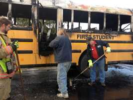 A school bus caught fire Wednesday morning near Jefferson, York County.