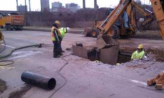 Part of Cameron Street in Harrisburg closed Wednesday, Feb. 20, as crews repaired a water main break.