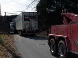 Northern York County Regional Police said trucks got stuck under the bridge at least two times in 2010.
