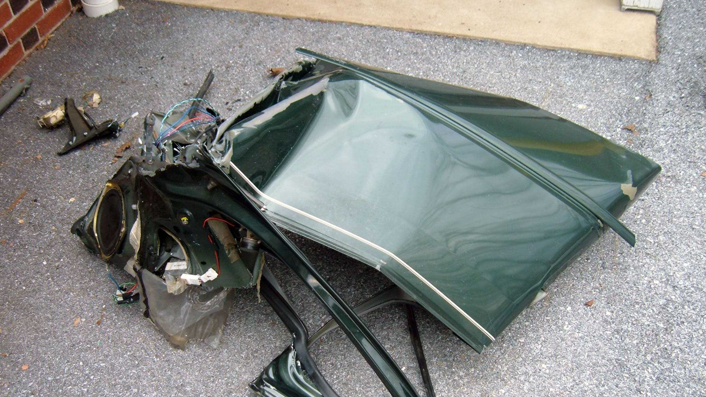 Cornwall Borough police shared this photo of the piece of Christaldi's car that was found near the crash scene.