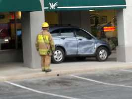 An SUV ended up at a store's front door Tuesday afternoon when the driver pressed the gas pedal by mistake, according to East Hempfield Township police.