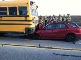 There were about dozen students on the bus. None were hurt.