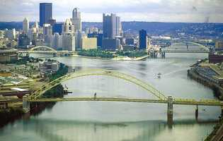 """1. The Allegheny River. When you first think of the Allegheny River, """"Wild and Scenic"""" may not spring to mind. This photo of the Allegheny flowing past Pittsburgh is how most people have seen the river."""