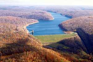 Like the Allegheny, parts of the Clarion are dammed. This photo shows theEast Branch Clarion River Lake and dam near Wilcox, Elk County.
