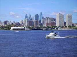 Today, the river flows by several major cities, including Philadelphia, shown here.