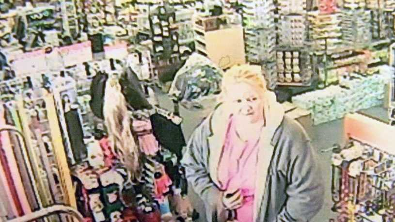 Police released this surveillance photo of a woman accused of taking wigs from a store.