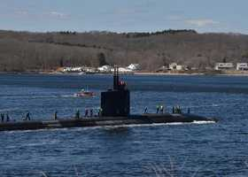 GROTON, Conn. (April 3, 2013) The Los Angeles-class attack submarine USS Alexandria (SSN 757) transits the Thames River as it returns to Naval Submarine Base New London. Alexandria returned from a six-month deployment to the U.S. Africa Command and European Command areas of responsibility where it supported national security interests and national security operations.