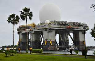 PEARL HARBOR (March 22, 2013) The Sea-based, X-band Radar (SBX 1) transits the waters of Joint Base Pearl Harbor-Hickam. The SBX is a combination of the world's largest phased-array X-band radar carried aboard a mobile, ocean-going semi-submersible oil platform.