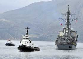 SOUDA BAY, Greece (March 8, 2013)The guided-missile destroyer USS Barry (DDG 52) arrives in Souda Bay. Barry is deployed to the U.S. 6th Fleet area of responsibility in support of maritime security operations and theater security cooperation efforts.