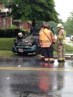 The minivan flipped over and another car sustained heavy front end damage.