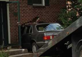 A car crashed into a home along Highland Avenue near Johns Avenue Wednesday afternoon in Gettysburg.