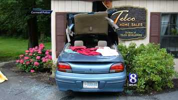 The woman hit the wrong pedal in the first block of Maple Avenue and drove into Telco Home Sales.
