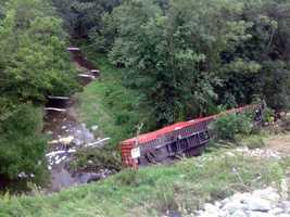 Diesel fuel from the tractor-trailer was leaking. Booms were placed to keep the fuel from entering Reeds Creek, which flows into the Swatara Creek.