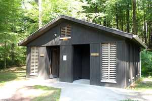 ... and separate restrooms are located near the lake.
