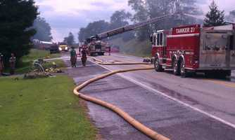 The fire started shortly after 2 p.m. on the 3100 block of Lewisberry Road in Manchester Township.