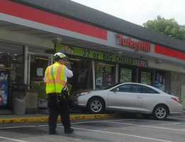 An elderly woman crashed into a Millersville, Lancaster County, Turkey Hill on Thursday morning.