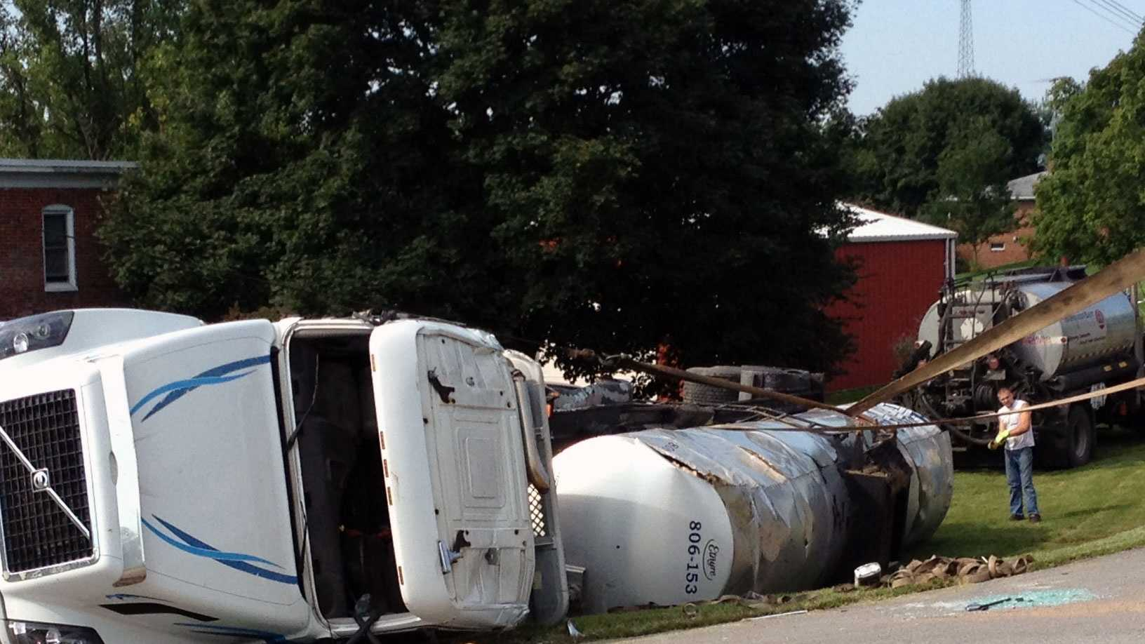A tanker truck overturned early Monday in Heidelberg Township, York County.