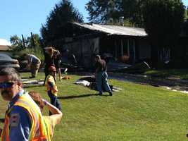 Fire destroyed a home in Monaghan Township, York County, on Wednesday morning.