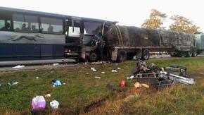 Wednesday, Oct. 9: Authorities said a Greyhound bus collided with a tractor-trailer on Interstate 80 west of Bloomsburg, killing a woman, critically injuring four other people and sending dozens to the hospital. State police said the crash happened about 1:45 a.m. Wednesday in the westbound lanes of I-80 in White Deer Township, Union County. Trooper Matthew Burrows said the bus struck the rear end of a flatbed trailer that was hauling bales of garbage. He said the bus was extensively damaged. Greyhound spokeswoman Alexandra Pedrini said the bus was heading from New York City to Cleveland. She said 45 of the 50 people on board, including the driver, were taken to five local hospitals. Pedrini said the bus driver has been with the company for more than 12 years.