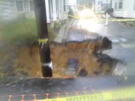 A sinkhole in the 300 block of East Cherry Street in Palmyra.