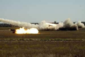 33. Three Singaporean Armed Forces High Mobility Artillery Rocket System launchers fire almost simultaneously on Fort Sill's range Oct. 30 during Operation Daring Warrior. Because of Singapore's tiny size, the SAF can't fire the HIMARS unless they come to an installation like Fort Sill and Operation daring Warrior is the first time many of the SAF crewmembers have taken part in a live-fire of their system. Operation Daring Warrior is a month-long, bi-lateral exercise, now in its fourth year at Fort Sill, Okla., the put U.S. soldiers side-by-side with Singaporean Armed Forces soldier firing High Mobility Artillery Rocket Systems, calling for fires and strengthening the bond of a strategic partner in the Pacific Rim region.