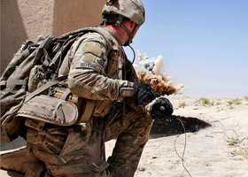 44. Combat engineer, Sgt. Daniel Ritchie, detonates an insurgent's improvised explosive device while conducting route clearance along Highway 1, July 23, 2012, in Ghazni Province, Afghanistan. Ritchie serves with 1st Brigade Special Troops Battalion, 1st Brigade Combat Team, 82nd Airborne Division.