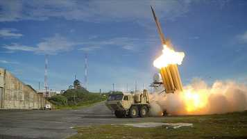 1. The first of two Terminal High Altitude Area Defense (THAAD) interceptors is launched during a successful intercept test.